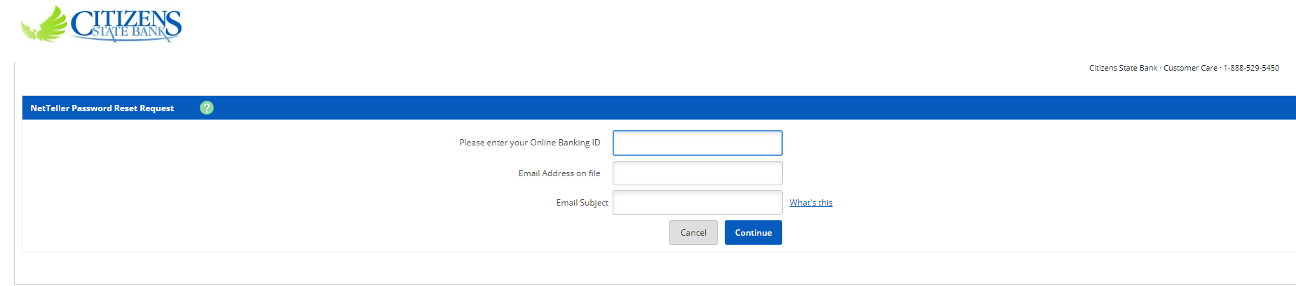 Step 3: fill in details for recovering password