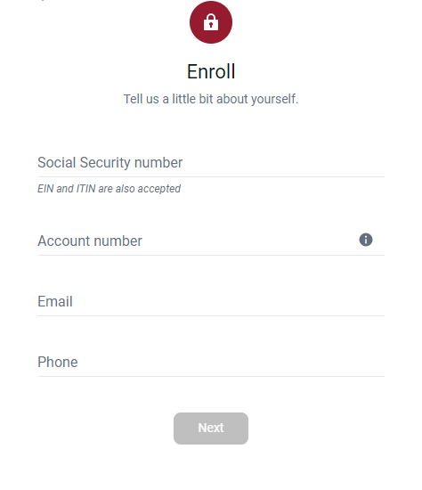 Step 3: Fill in details for enrolling in an online account