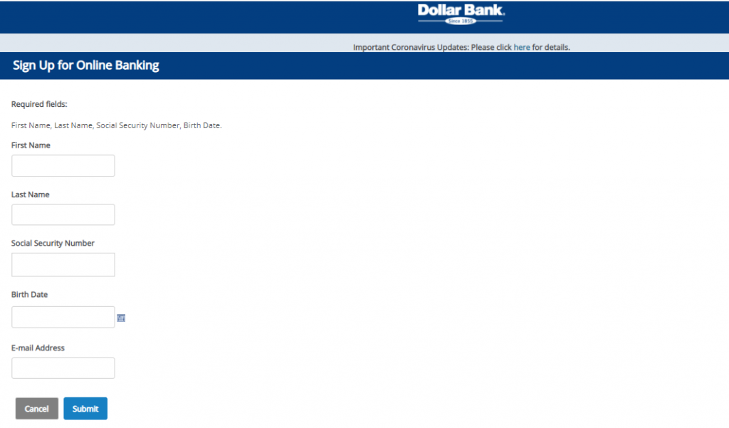 Dollar Bank Online Banking Sign-Up Page