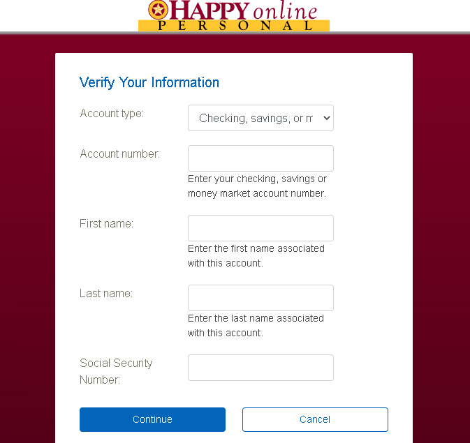 Happy State Bank User ID Recovery