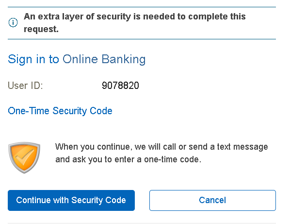 One Time Security Code