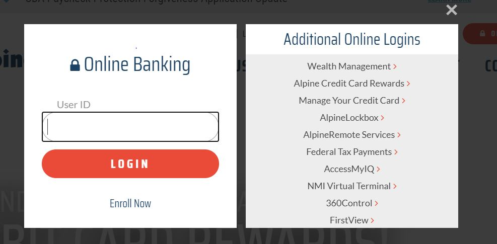Alpine Bank User Id Dialog Box