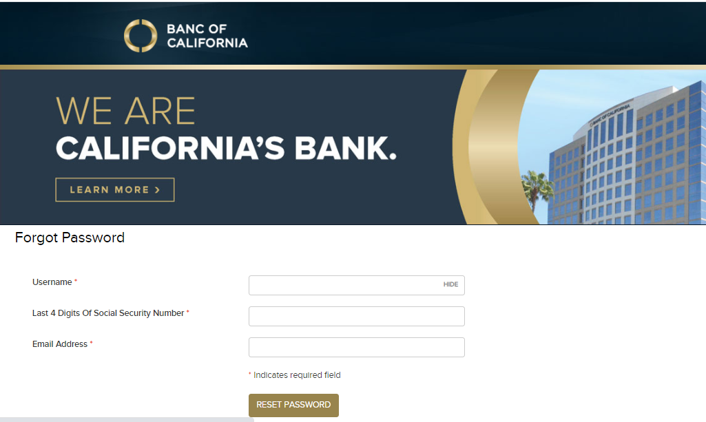 Banc Of California Online Banking Forgot Password Page