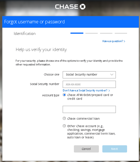 Chase Bank - Password Recovery