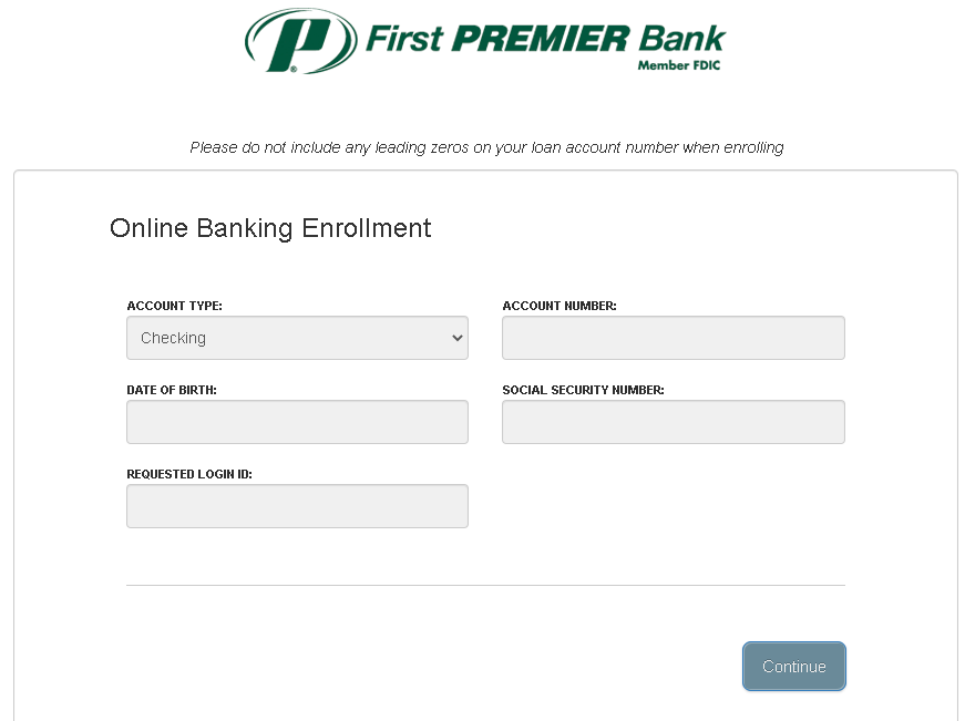 First Premier Bank - Enrollment Form