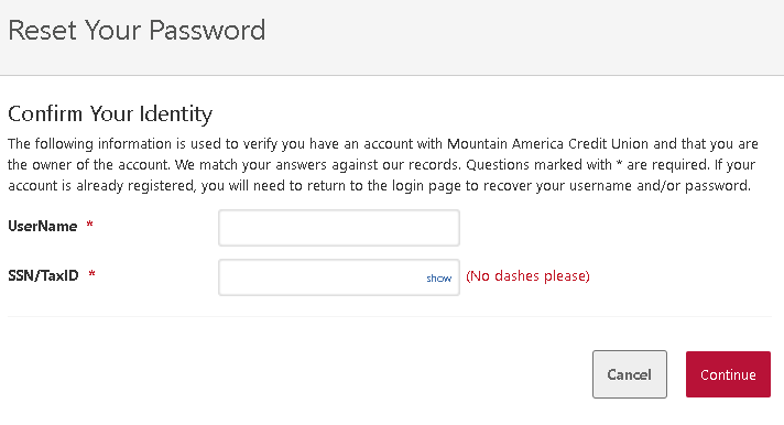 Mountain America Credit Union - Confirm Your Identity