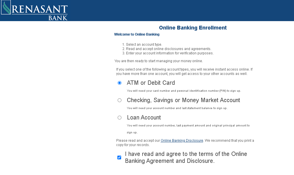 Rensant Bank - Enrollment Form