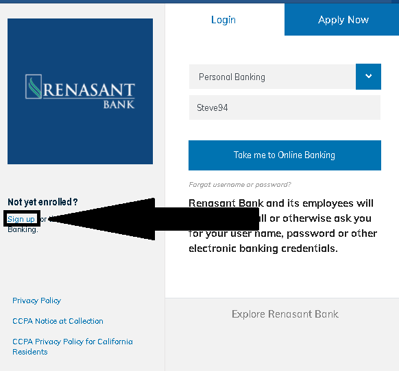 Rensant Bank - Enrollment Process