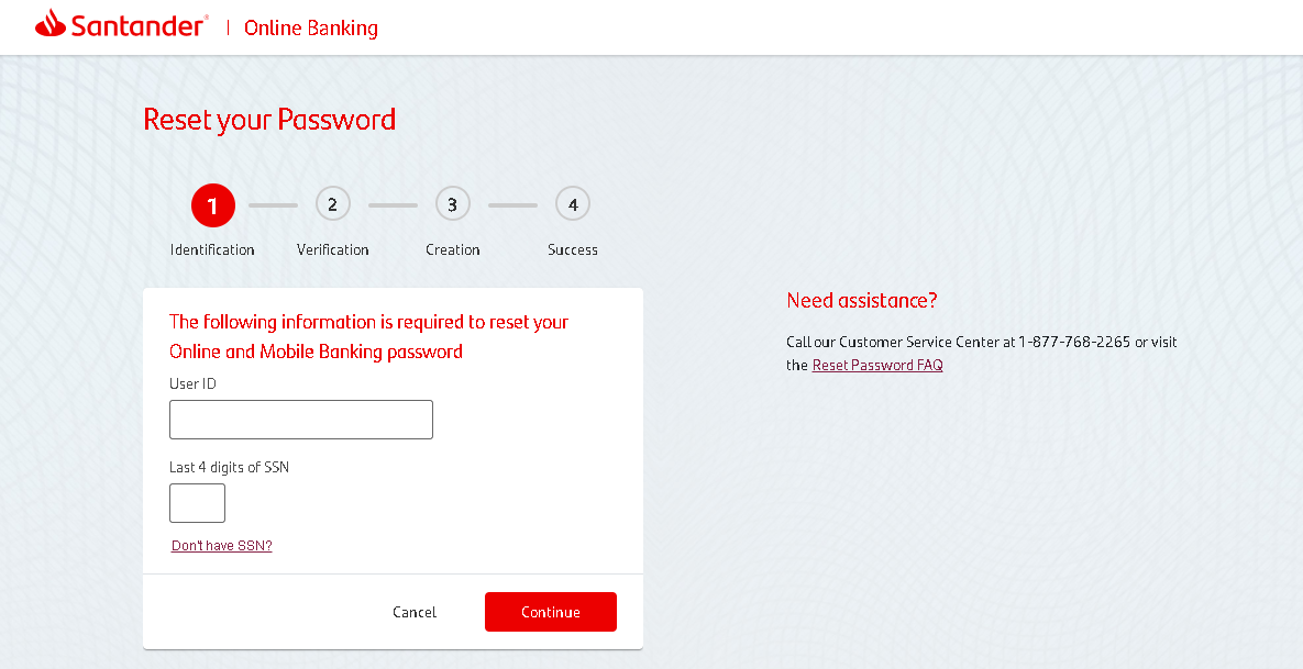 Santander Bank - Reset Your Password