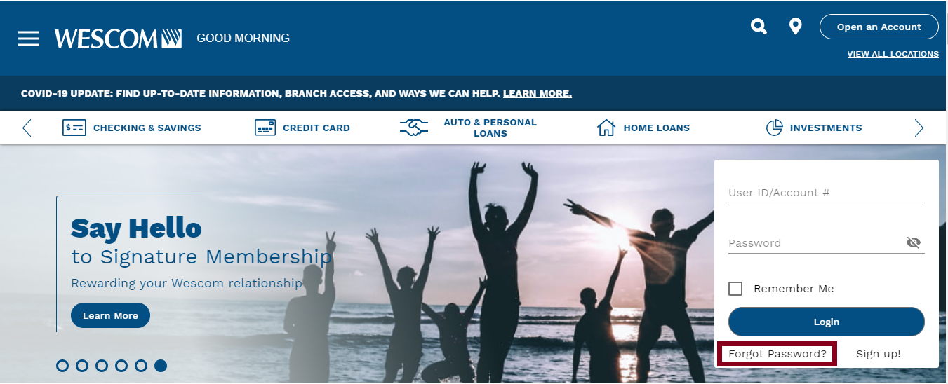Wescom Credit Union Online Banking Forget Password Option