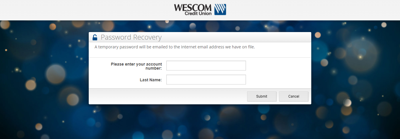 Wescom Credit Union Online Banking Forget Password Page