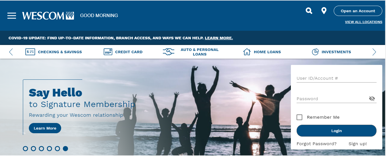 Wescom Credit Union Online Banking Login Page