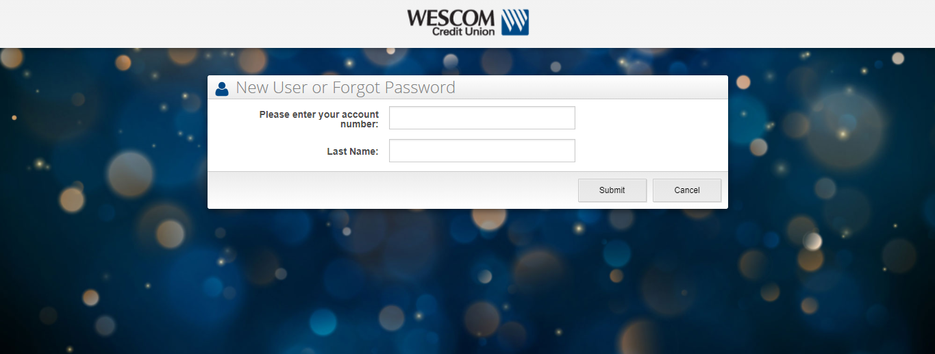 Wescom Credit Union Online Banking Sign Up Page