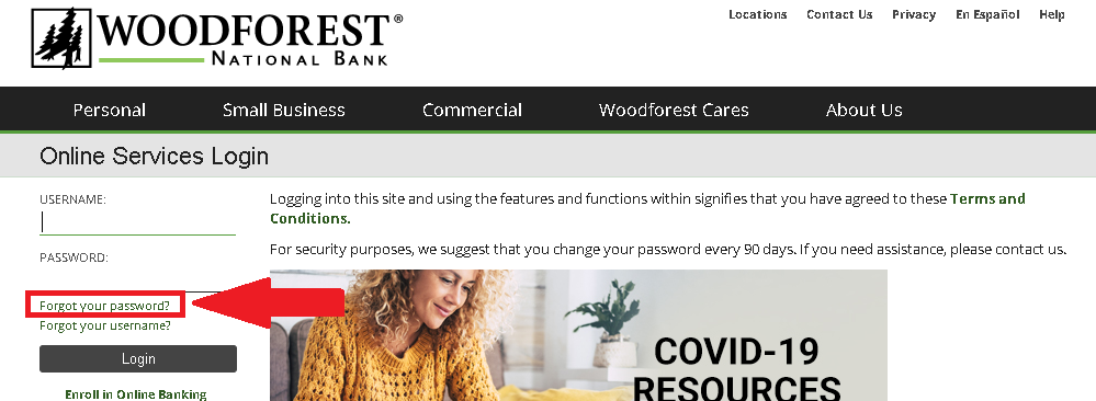 Woodforest Bank - Forgot your password