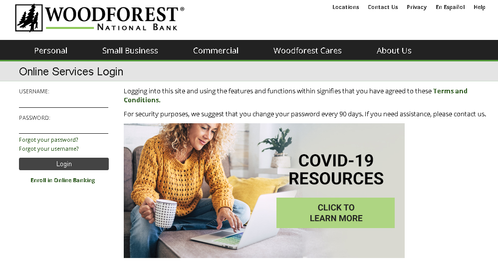 Woodforest Bank Online Banking Process