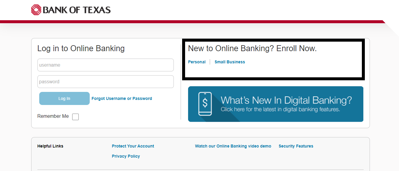 Bank Of Texas Online Banking Enrollment Options