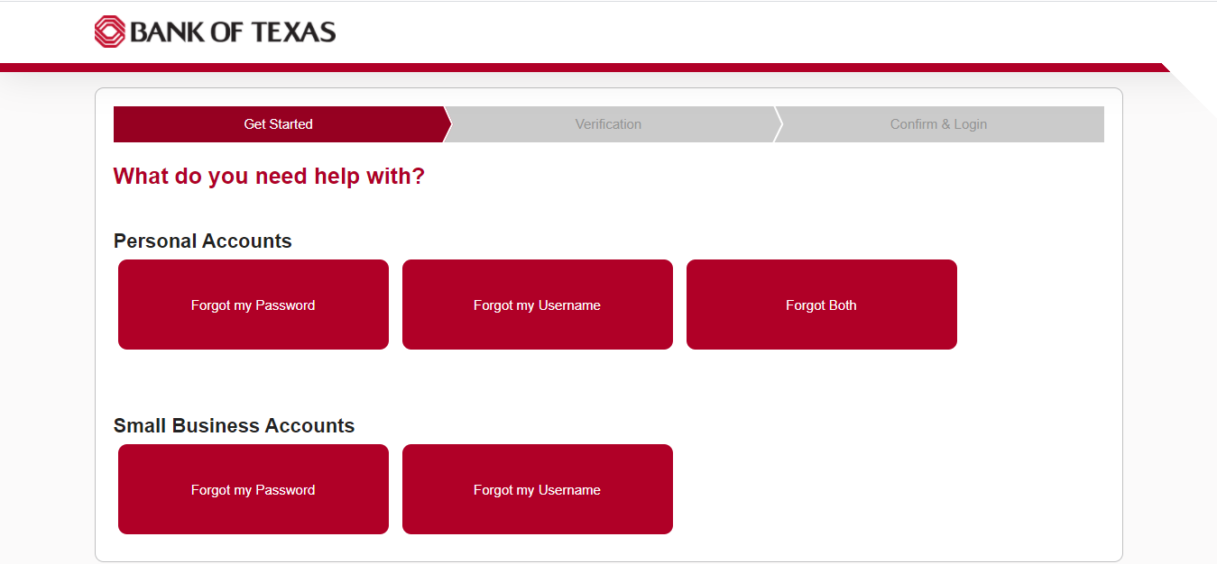 Bank Of Texas Online Banking Forgot Uname or Pass Page
