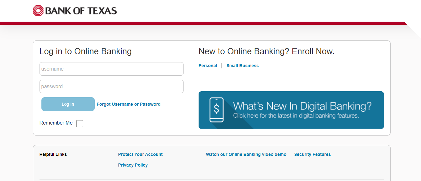 Bank Of Texas Online Banking Homepage