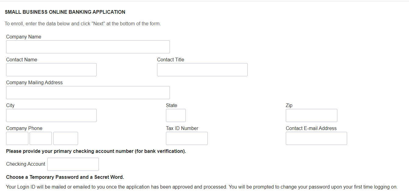 Bank Of Texas Online Banking Small Business Form