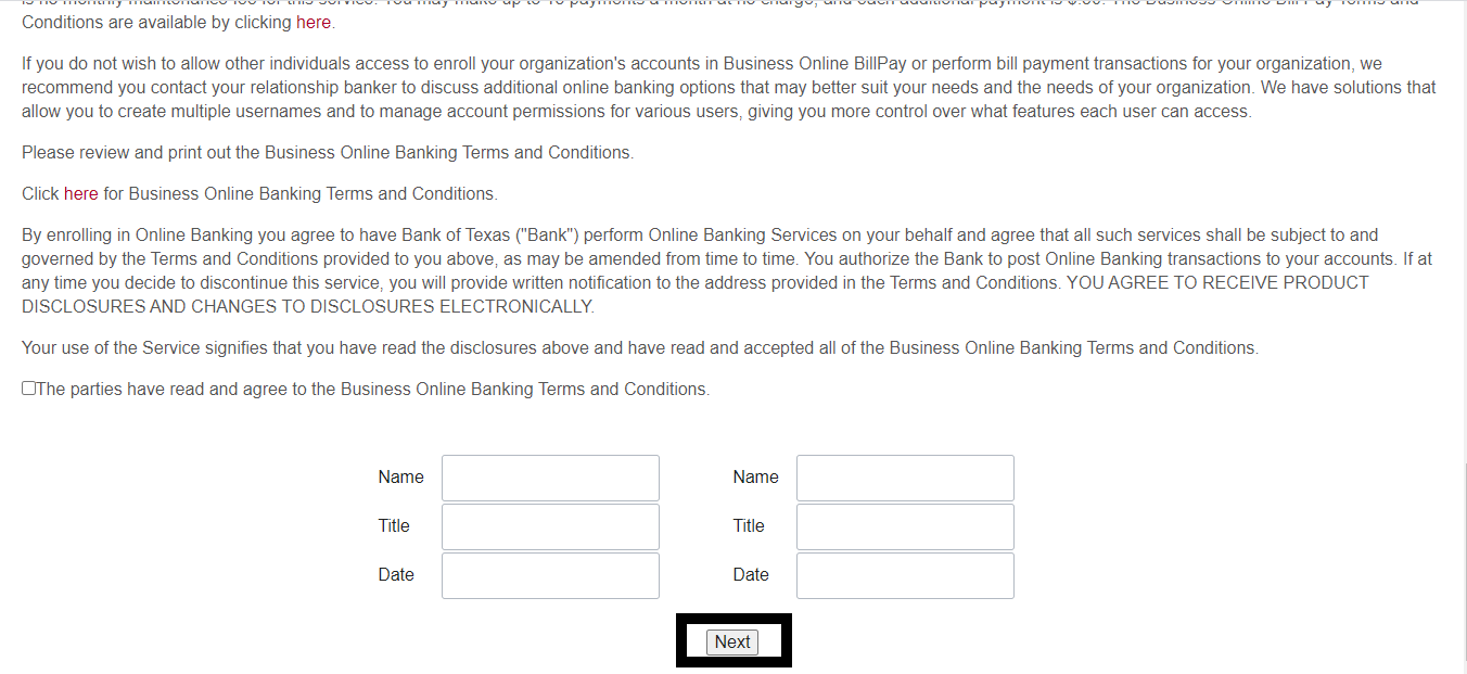 Bank Of Texas Online Banking Small Business