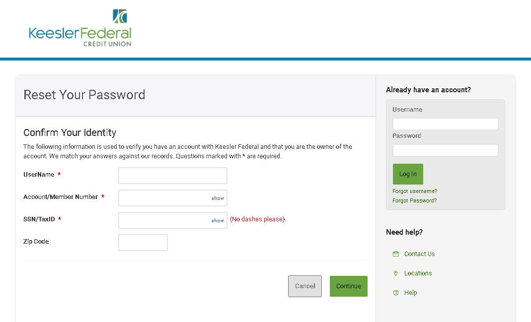 Keesler Federal Credit Union - Password Recovery Process